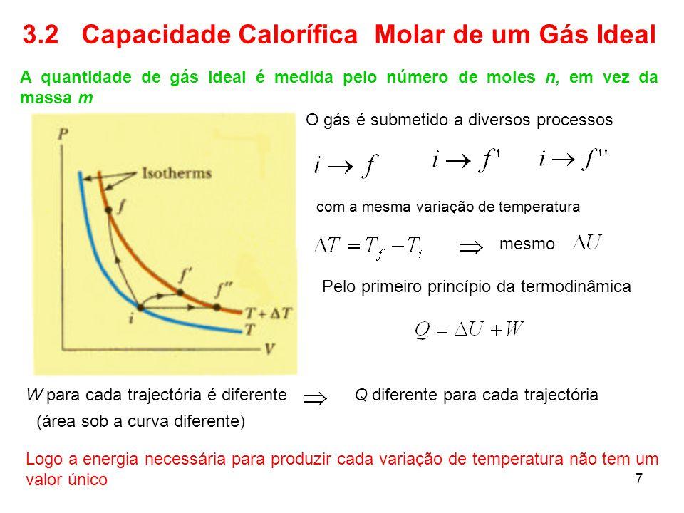 7 3.2 Capacidade Calorífica Molar de um Gás Ideal A quantidade de gás ideal é medida pelo número de moles n, em vez da massa m O gás é submetido a div