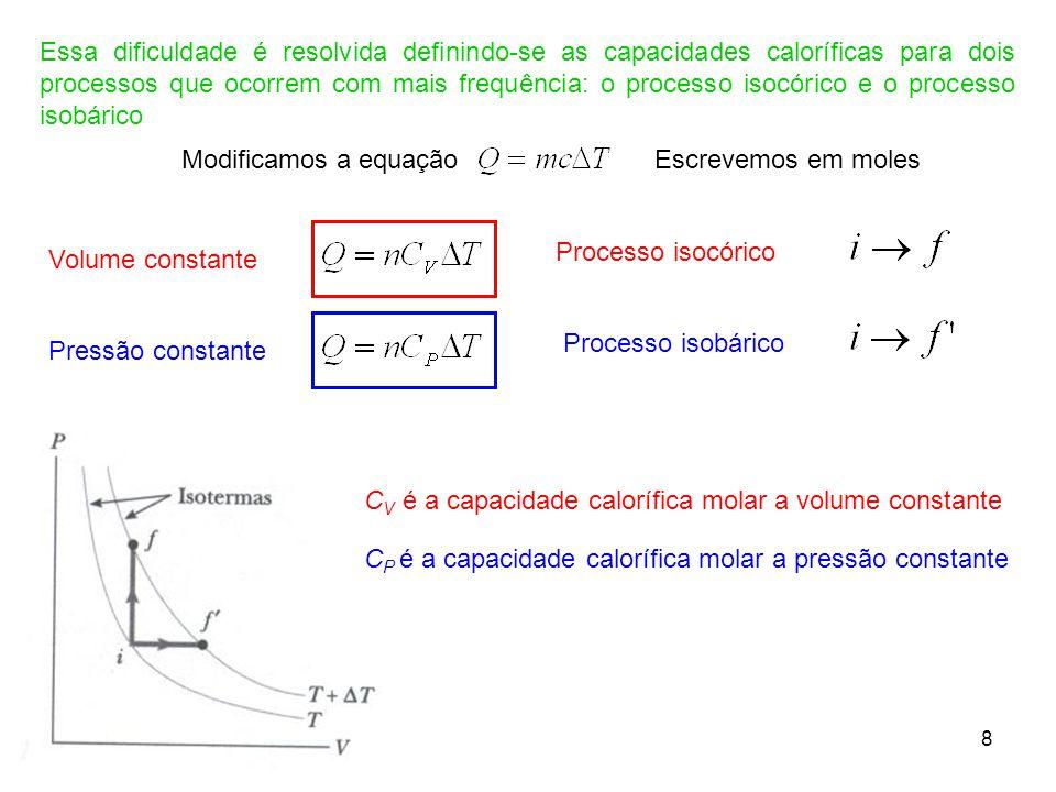 8 Essa dificuldade é resolvida definindo-se as capacidades caloríficas para dois processos que ocorrem com mais frequência: o processo isocórico e o p