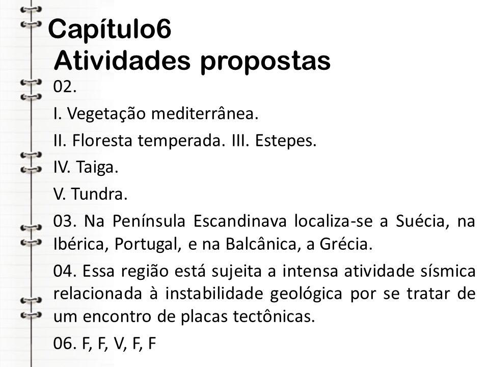 Capítulo6 Atividades propostas 02. I. Vegetação mediterrânea. II. Floresta temperada. III. Estepes. IV. Taiga. V. Tundra. 03. Na Península Escandinava