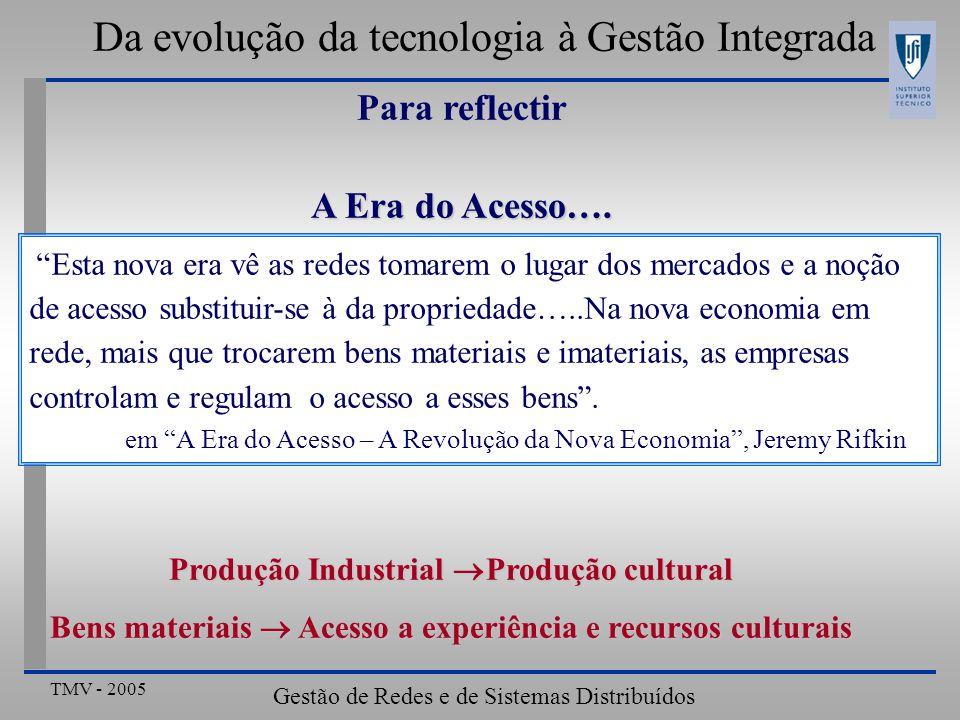 TMV - 2005 Gestão de Redes e de Sistemas Distribuídos Resumo da aula • Um visão global sobre GRSD