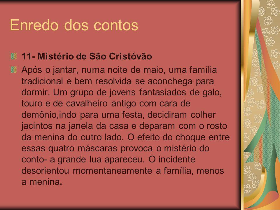 Enredo dos contos 11- Mistério de São Cristóvão Após o jantar, numa noite de maio, uma família tradicional e bem resolvida se aconchega para dormir. U
