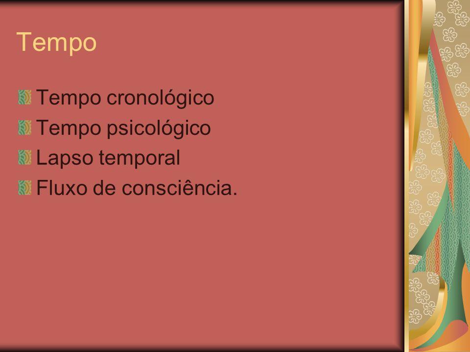 Tempo Tempo cronológico Tempo psicológico Lapso temporal Fluxo de consciência.