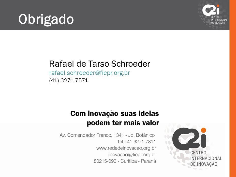 Rafael de Tarso Schroeder rafael.schroeder@fiepr.org.br (41) 3271 7571 Obrigado Com inovação suas ideias podem ter mais valor