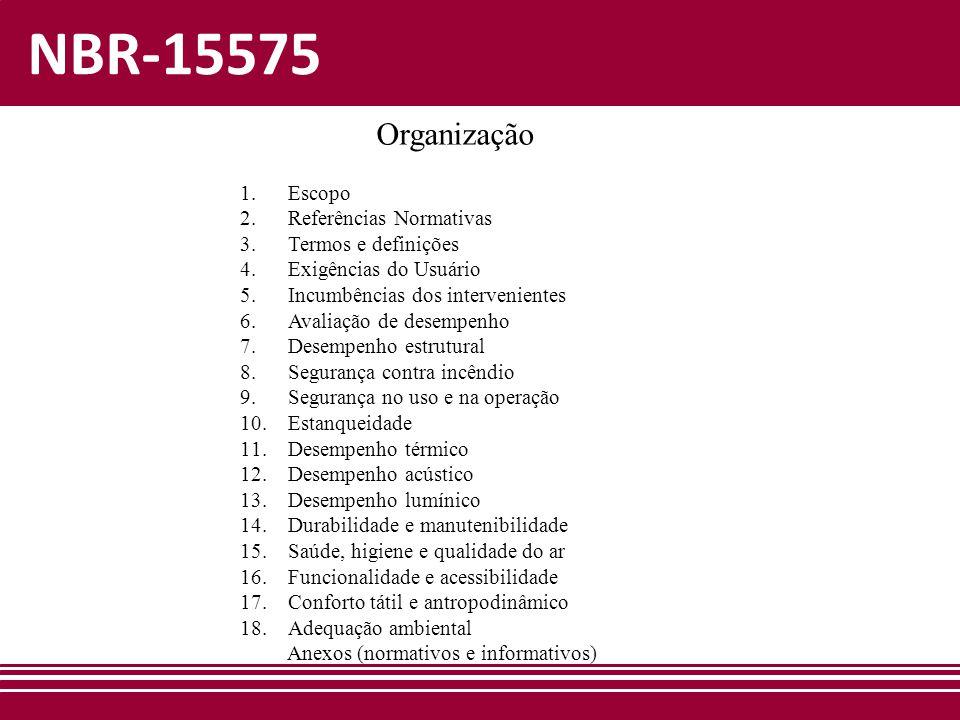 NBR-15575 1.Escopo 2.Referências Normativas 3.Termos e definições 4.Exigências do Usuário 5.Incumbências dos intervenientes 6.Avaliação de desempenho