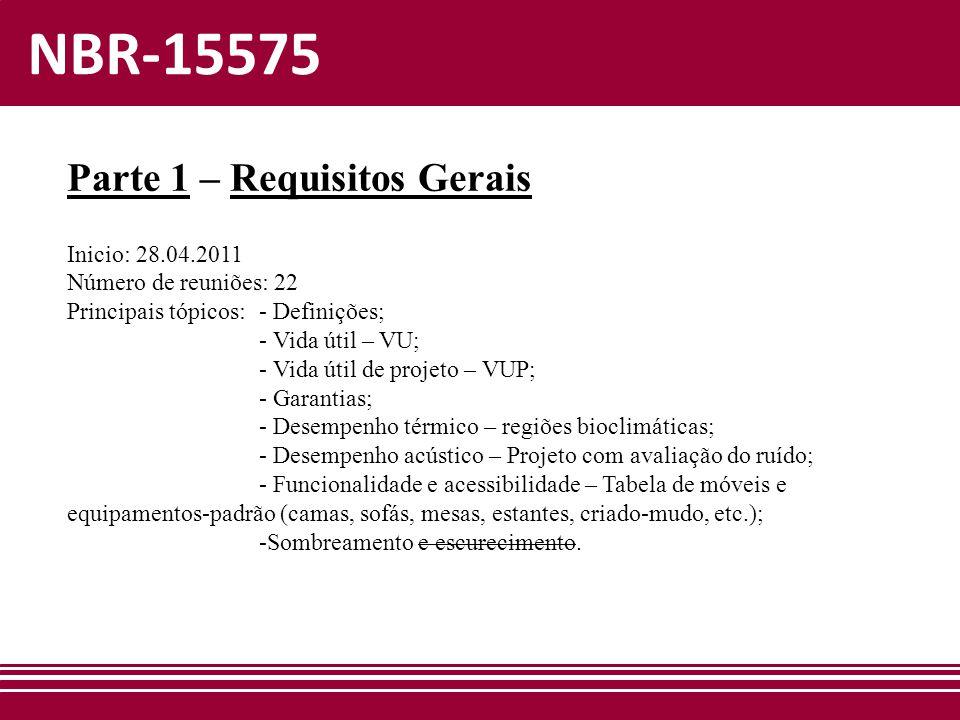 NBR-15575 Parte 1 – Requisitos Gerais Inicio: 28.04.2011 Número de reuniões: 22 Principais tópicos: - Definições; - Vida útil – VU; - Vida útil de pro