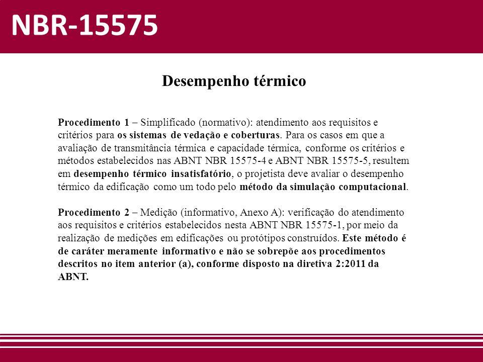 NBR-15575 Desempenho térmico Procedimento 1 – Simplificado (normativo): atendimento aos requisitos e critérios para os sistemas de vedação e cobertura
