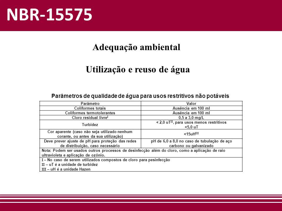 NBR-15575 Adequação ambiental Utilização e reuso de água ParâmetroValor Coliformes totaisAusência em 100 ml Coliformes termotolerantesAusência em 100