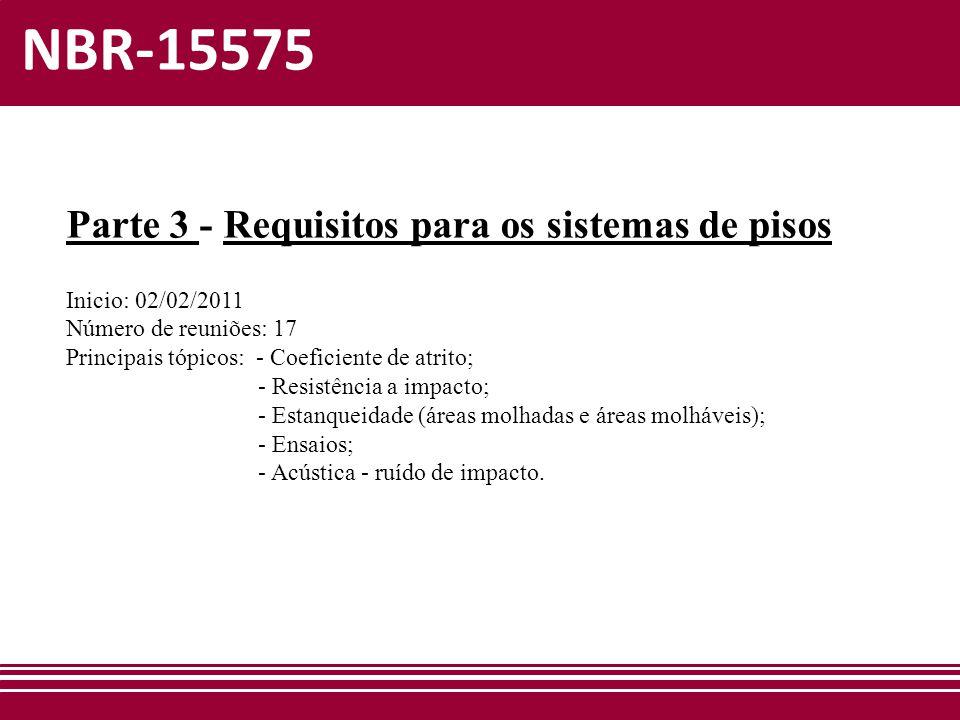 NBR-15575 Parte 3 - Requisitos para os sistemas de pisos Inicio: 02/02/2011 Número de reuniões: 17 Principais tópicos: - Coeficiente de atrito; - Resi