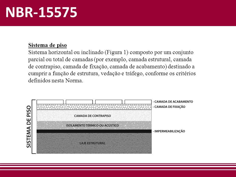 NBR-15575 Sistema de piso Sistema horizontal ou inclinado (Figura 1) composto por um conjunto parcial ou total de camadas (por exemplo, camada estrutu