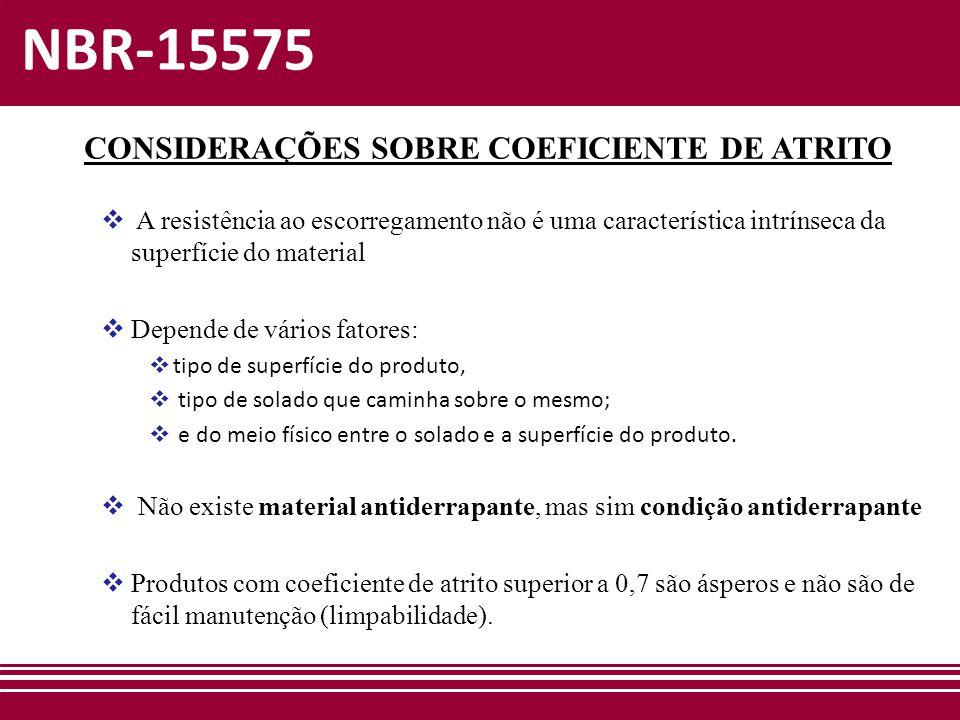 NBR-15575 CONSIDERAÇÕES SOBRE COEFICIENTE DE ATRITO  A resistência ao escorregamento não é uma característica intrínseca da superfície do material 