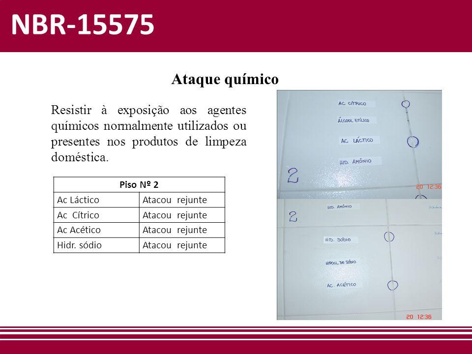 NBR-15575 Ataque químico Resistir à exposição aos agentes químicos normalmente utilizados ou presentes nos produtos de limpeza doméstica. Piso Nº 2 Ac