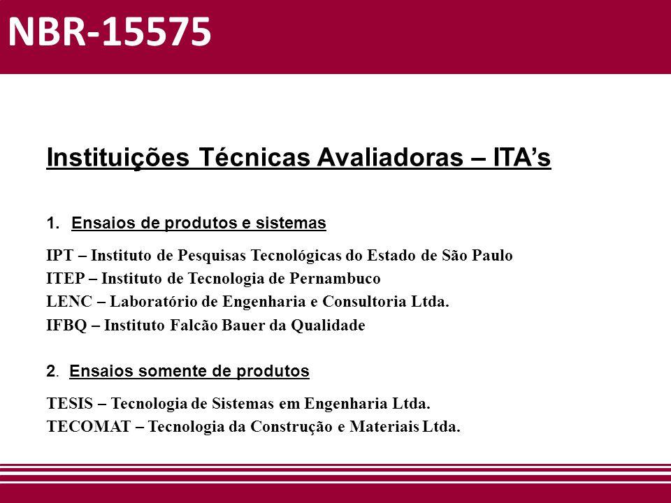 NBR-15575 Instituições Técnicas Avaliadoras – ITA's 1.Ensaios de produtos e sistemas IPT – Instituto de Pesquisas Tecnológicas do Estado de São Paulo
