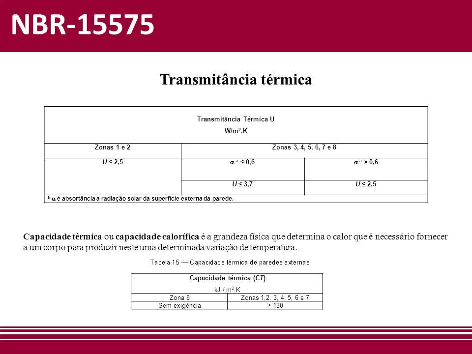 NBR-15575 Transmitância térmica Transmitância Térmica U W/m 2.K Zonas 1 e 2Zonas 3, 4, 5, 6, 7 e 8 U ≤ 2,5  a ≤ 0,6  a > 0,6 U ≤ 3,7U ≤ 2,5 a  é ab