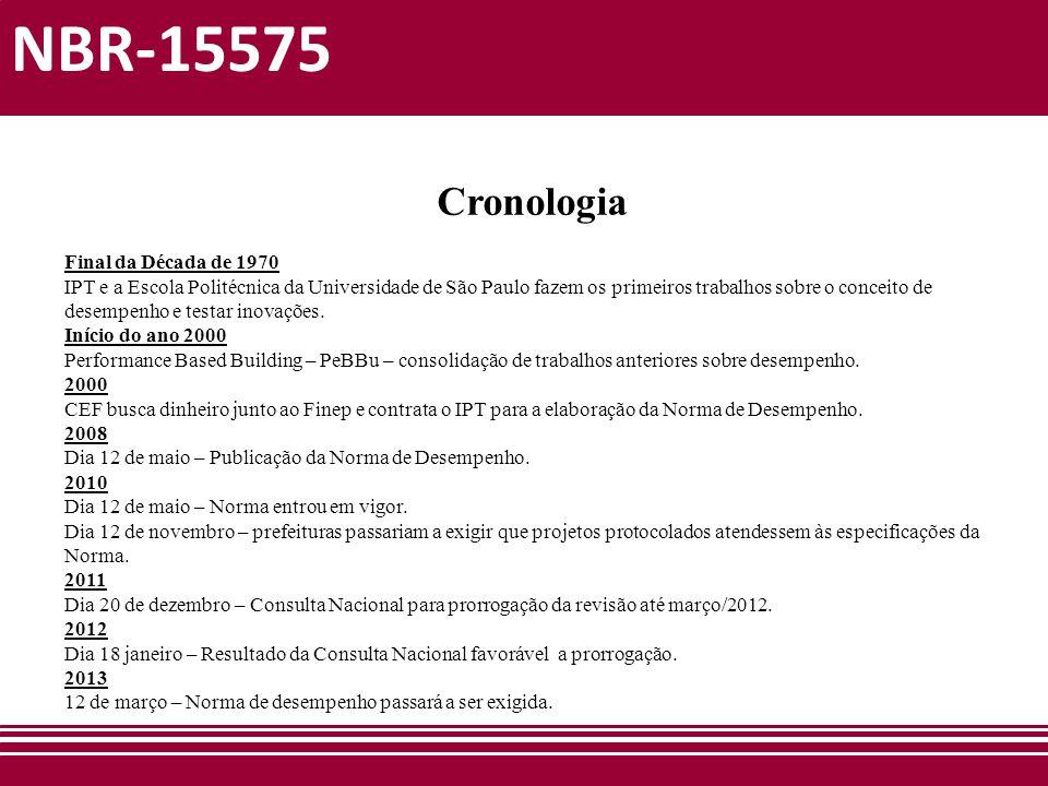 NBR-15575 Cronologia Final da Década de 1970 IPT e a Escola Politécnica da Universidade de São Paulo fazem os primeiros trabalhos sobre o conceito de
