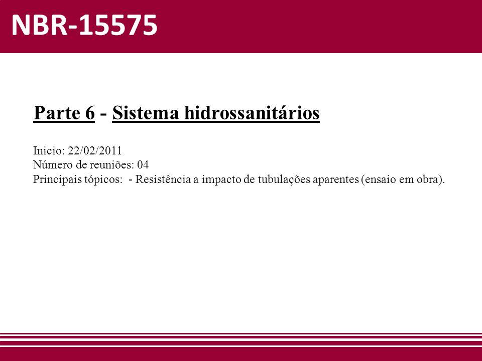 NBR-15575 Parte 6 - Sistema hidrossanitários Inicio: 22/02/2011 Número de reuniões: 04 Principais tópicos: - Resistência a impacto de tubulações apare