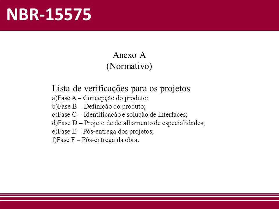 NBR-15575 Anexo A (Normativo) Lista de verificações para os projetos a)Fase A – Concepção do produto; b)Fase B – Definição do produto; c)Fase C – Iden