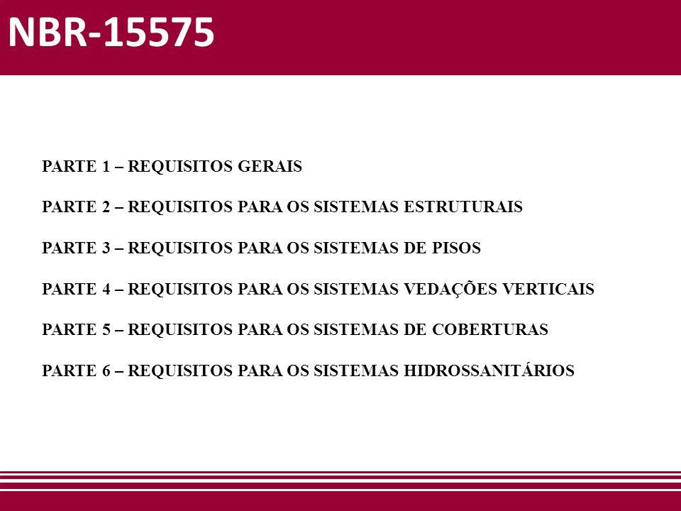 NBR-15575 Parte 2 – Requisitos para os sistemas estruturais Inicio: 18/01/2012 Número de reuniões: 01 Principais tópicos: - Em casas e sobrados com altura total até 6 metros as dimensões mínimas dos componentes deixam de ser obrigatórias –– norma prescritiva diferente; - Análise dinâmica das estruturas.