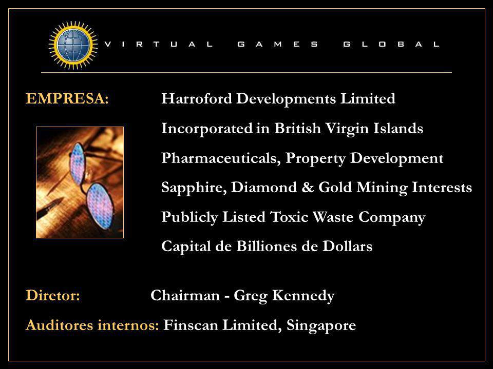 EMPRESA: Harroford Developments Limited Incorporated in British Virgin Islands Pharmaceuticals, Property Development Sapphire, Diamond & Gold Mining Interests Publicly Listed Toxic Waste Company Capital de Billiones de Dollars Diretor: Chairman - Greg Kennedy Auditores internos: Finscan Limited, Singapore