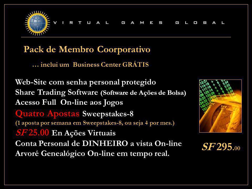 Web-Site com senha personal protegido Share Trading Software (Software de Ações de Bolsa) Acesso Full On-line aos Jogos Quatro Apostas Sweepstakes-8 (1 aposta por semana em Sweepstakes-8, ou seja 4 por mes.) SF 25.00 En Ações Virtuais Conta Personal de DINHEIRO a vista On-line Arvoré Genealógico On-line em tempo real.