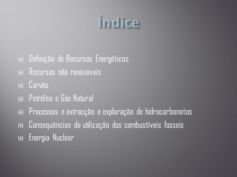  Definição de Recursos Energéticos  Recursos não renováveis  Carvão  Petróleo e Gás Natural  Processos e extracção e exploração de hidrocarbonetos  Consequências da utilização dos combustíveis fosseis  Energia Nuclear