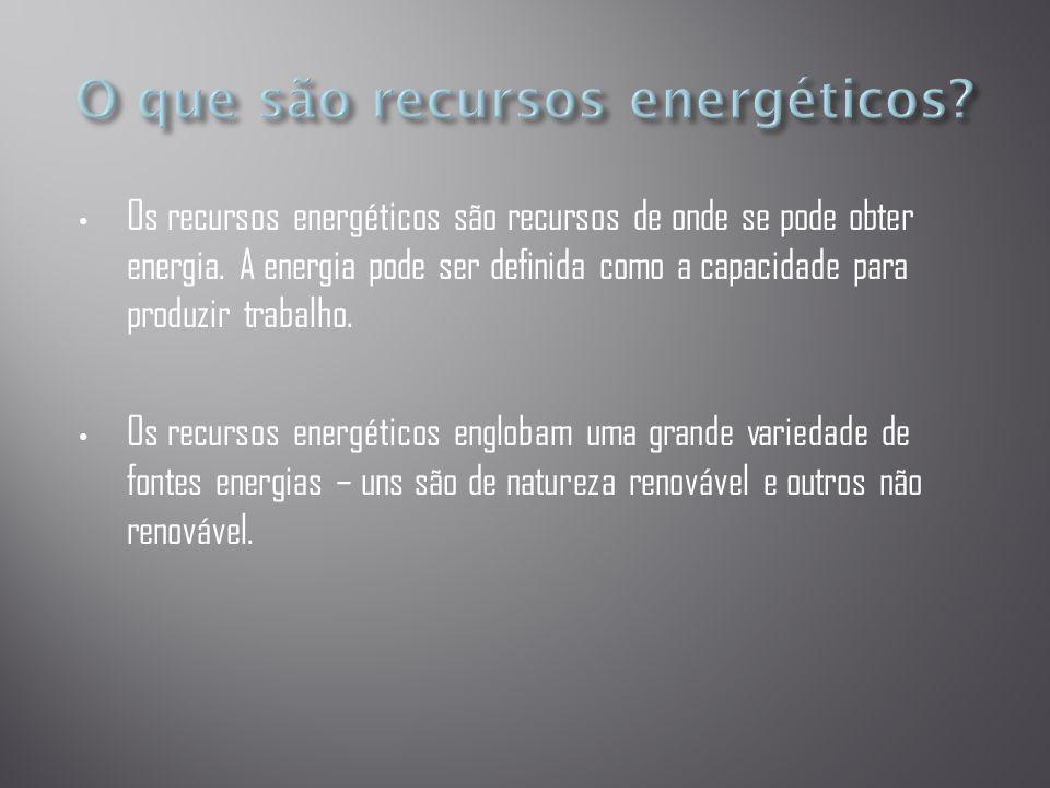 • Os recursos energéticos são recursos de onde se pode obter energia. A energia pode ser definida como a capacidade para produzir trabalho. • Os recur