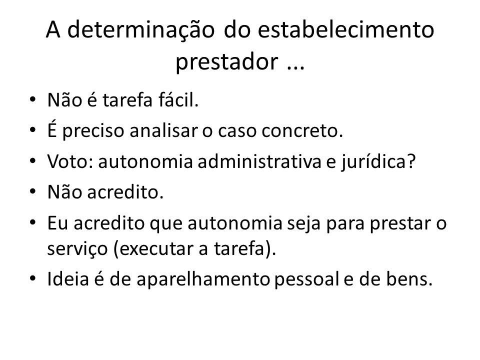 A determinação do estabelecimento prestador... • Não é tarefa fácil. • É preciso analisar o caso concreto. • Voto: autonomia administrativa e jurídica