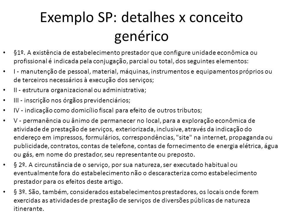 Exemplo SP: detalhes x conceito genérico • §1º. A existência de estabelecimento prestador que configure unidade econômica ou profissional é indicada p