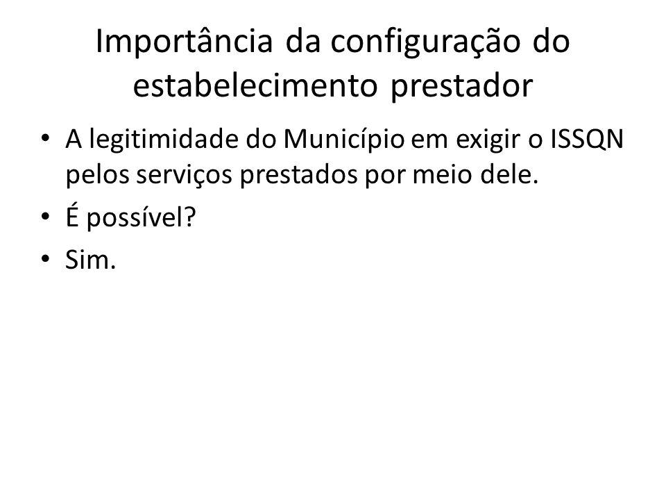 Importância da configuração do estabelecimento prestador • A legitimidade do Município em exigir o ISSQN pelos serviços prestados por meio dele. • É p