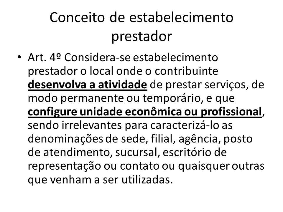 Conceito de estabelecimento prestador • Art. 4º Considera-se estabelecimento prestador o local onde o contribuinte desenvolva a atividade de prestar s