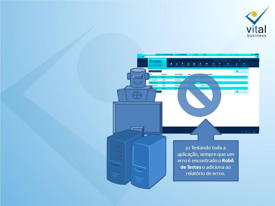 (1) Testando toda a aplicação, sempre que um erro é encontrado o Robô de Testes o adiciona ao relatório de erros.