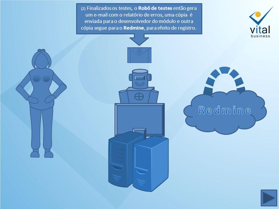 (2) Finalizados os testes, o Robô de testes então gera um e-mail com o relatório de erros, uma cópia é enviada para o desenvolvedor do módulo e outra cópia segue para o Redmine, para efeito de registro.