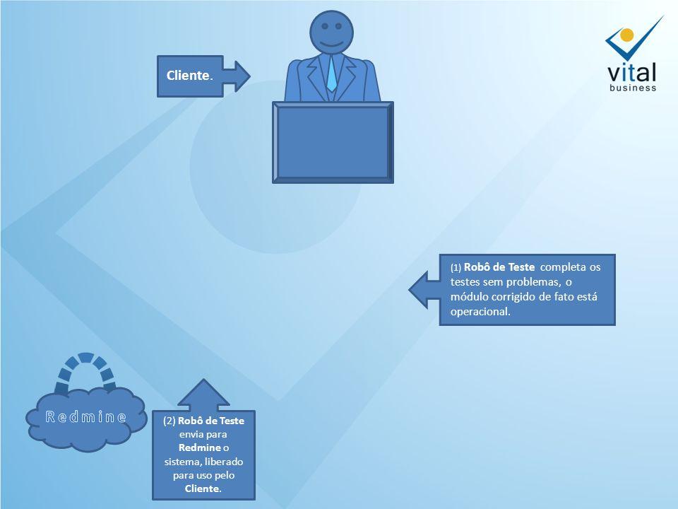 (2) Robô de Teste envia para Redmine o sistema, liberado para uso pelo Cliente.