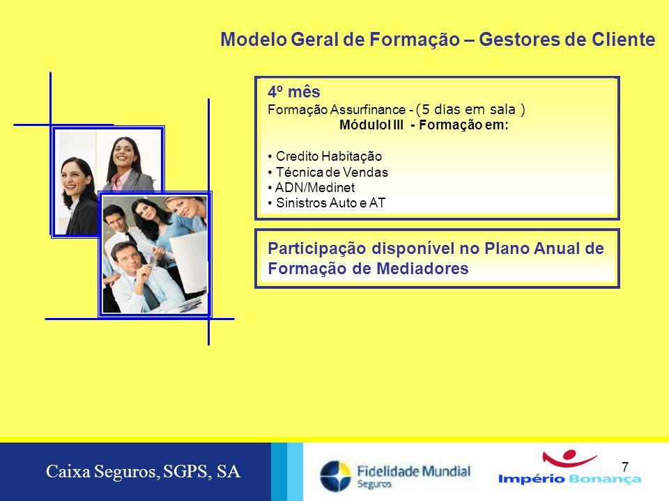 Caixa Seguros, SGPS, SA 7 7 4º mês Formação Assurfinance - (5 dias em sala ) MóduloI III - Formação em: • Credito Habitação • Técnica de Vendas • ADN/