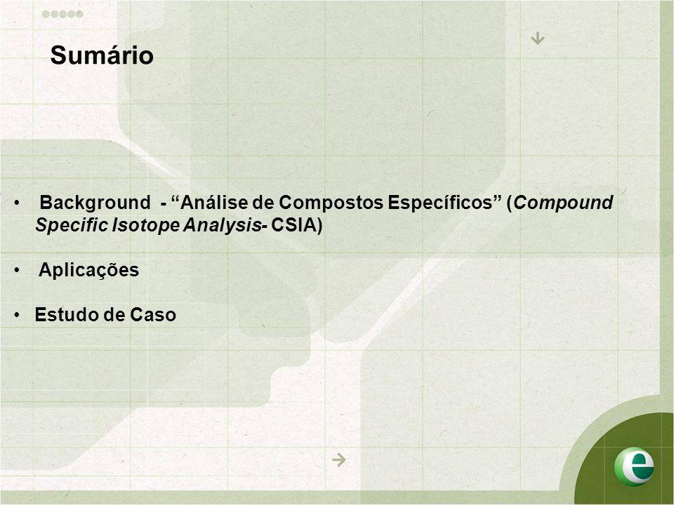 """Sumário • Background - """"Análise de Compostos Específicos"""" (Compound Specific Isotope Analysis- CSIA) • Aplicações •Estudo de Caso"""