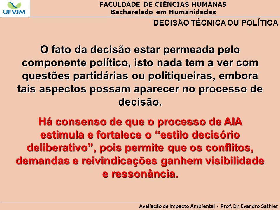 FACULDADE DE CIÊNCIAS HUMANAS Bacharelado em Humanidades Avaliação de Impacto Ambiental - Prof. Dr. Evandro Sathler DECISÃO TÉCNICA OU POLÍTICA O fato