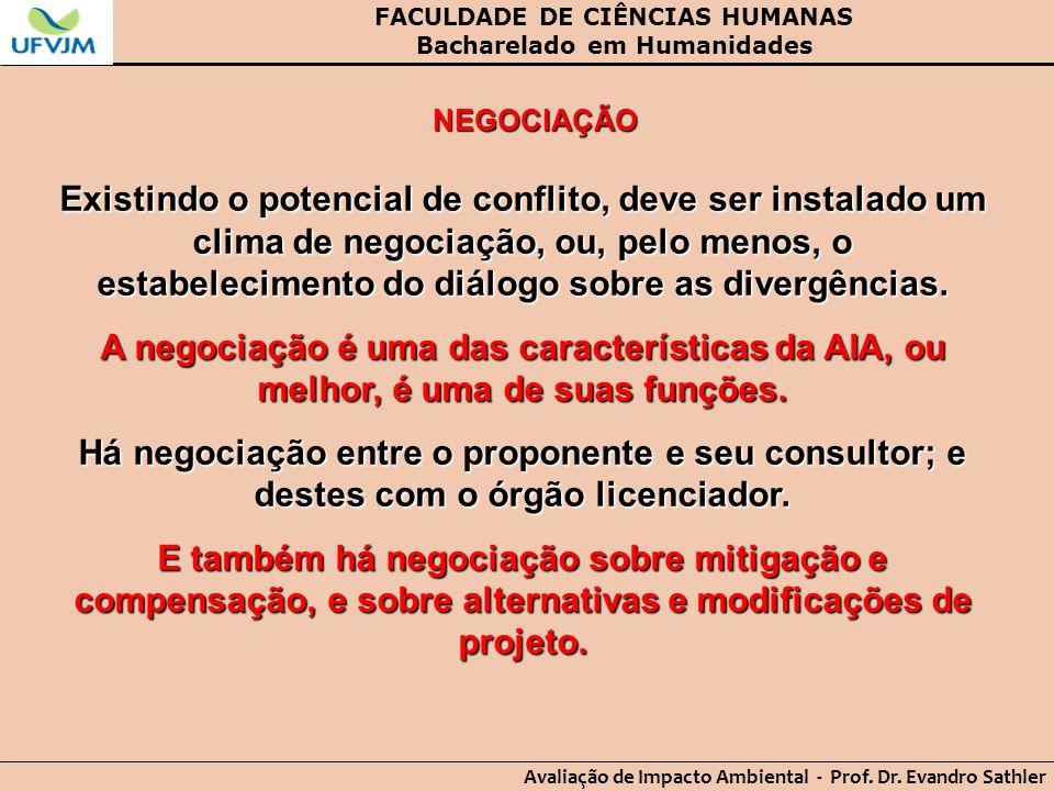 FACULDADE DE CIÊNCIAS HUMANAS Bacharelado em Humanidades Avaliação de Impacto Ambiental - Prof. Dr. Evandro Sathler NEGOCIAÇÃO Existindo o potencial d