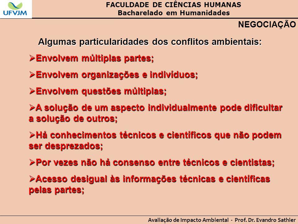 FACULDADE DE CIÊNCIAS HUMANAS Bacharelado em Humanidades Avaliação de Impacto Ambiental - Prof. Dr. Evandro Sathler NEGOCIAÇÃO Algumas particularidade