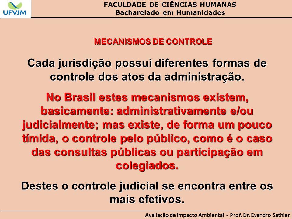 FACULDADE DE CIÊNCIAS HUMANAS Bacharelado em Humanidades Avaliação de Impacto Ambiental - Prof. Dr. Evandro Sathler MECANISMOS DE CONTROLE Cada jurisd
