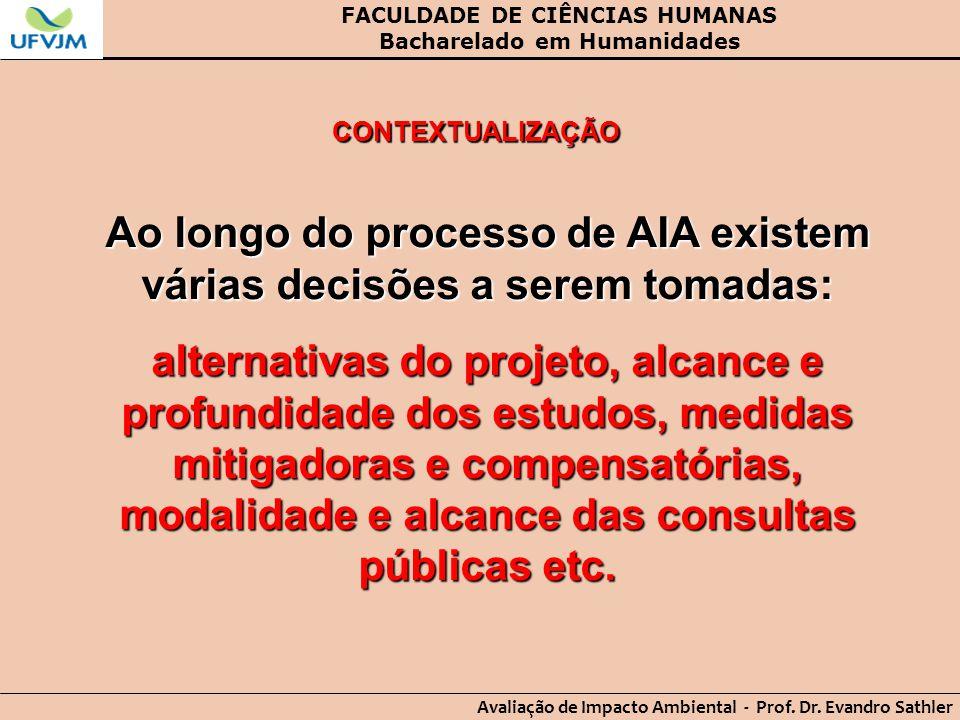 FACULDADE DE CIÊNCIAS HUMANAS Bacharelado em Humanidades Avaliação de Impacto Ambiental - Prof. Dr. Evandro Sathler CONTEXTUALIZAÇÃO Ao longo do proce