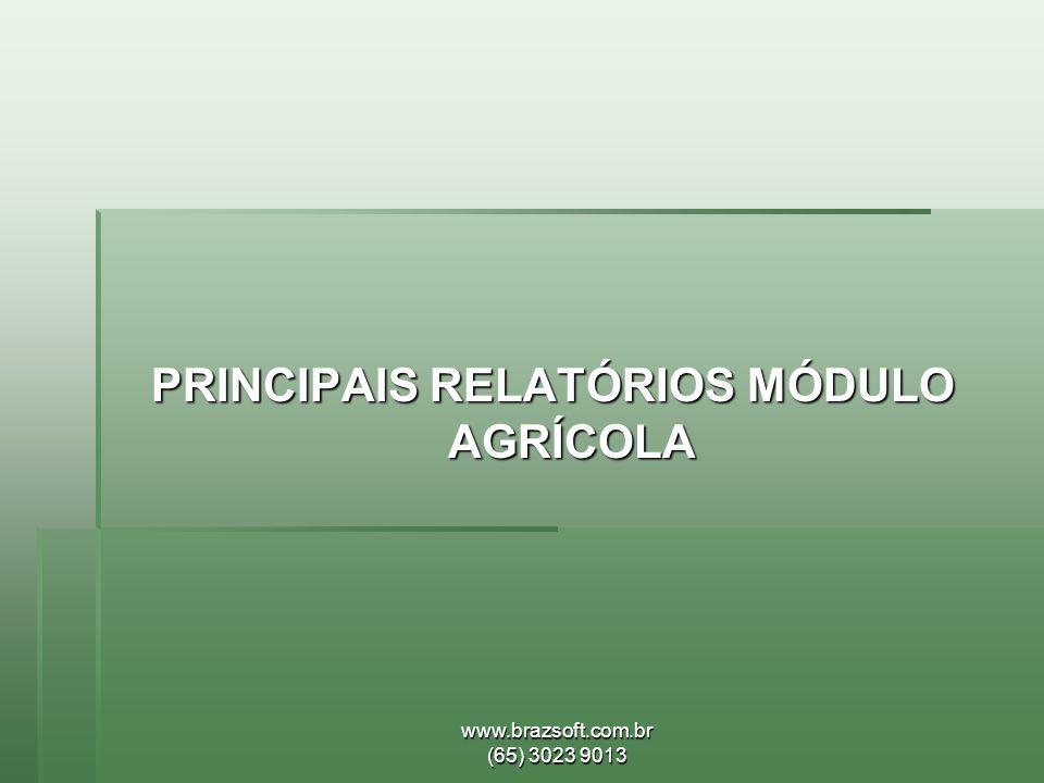 www.brazsoft.com.br (65) 3023 9013 PRINCIPAIS RELATÓRIOS MÓDULO AGRÍCOLA