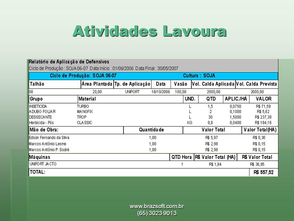 www.brazsoft.com.br (65) 3023 9013 Atividades Lavoura