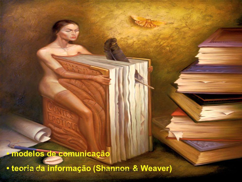 • modelos de comunicação • teoria da informação (Shannon & Weaver) 30/6/201411www.nilson.pro.br