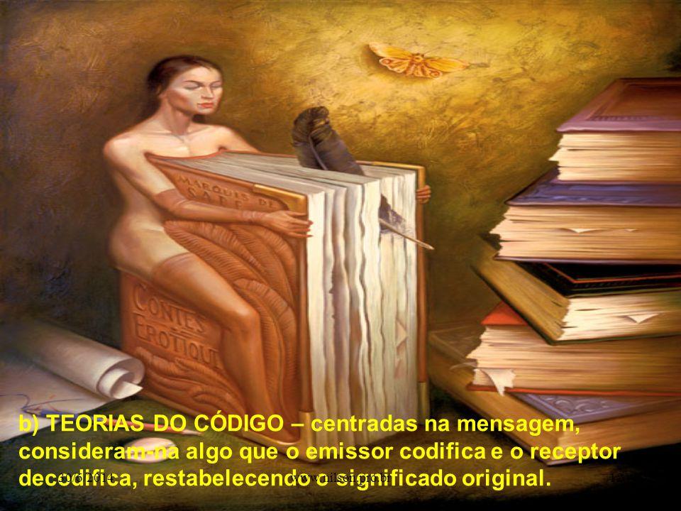 b) TEORIAS DO CÓDIGO – centradas na mensagem, consideram-na algo que o emissor codifica e o receptor decodifica, restabelecendo o significado original.