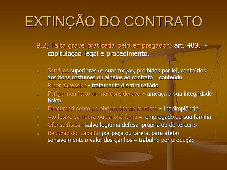 EXTINÇÃO DO CONTRATO B.2) Falta grave praticada pelo empregador: art. 483, - capitulação legal e procedimento.  Servi ç os superiores à s suas for ç