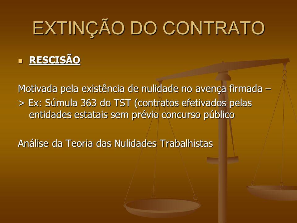 EXTINÇÃO DO CONTRATO  RESCISÃO Motivada pela existência de nulidade no avença firmada – > Ex: Súmula 363 do TST (contratos efetivados pelas entidades