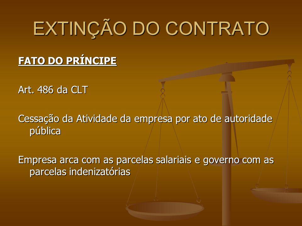 EXTINÇÃO DO CONTRATO FATO DO PRÍNCIPE Art. 486 da CLT Cessação da Atividade da empresa por ato de autoridade pública Empresa arca com as parcelas sala