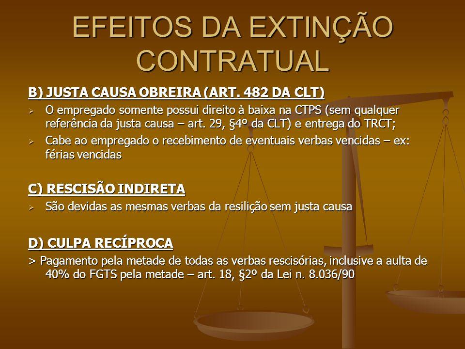 EFEITOS DA EXTINÇÃO CONTRATUAL B) JUSTA CAUSA OBREIRA (ART. 482 DA CLT)  O empregado somente possui direito à baixa na CTPS (sem qualquer referência