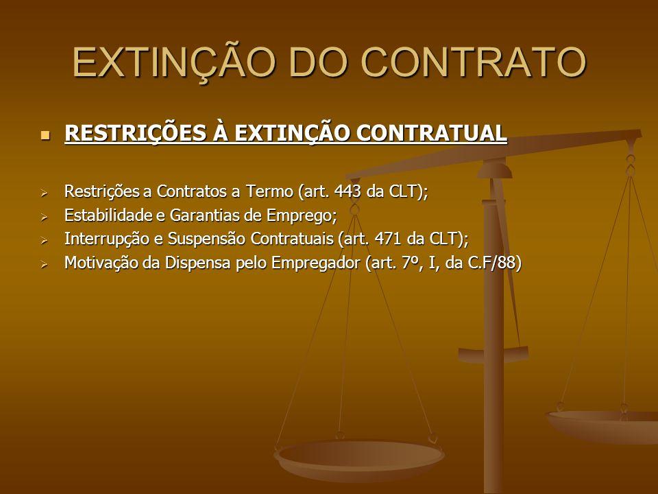 EXTINÇÃO DO CONTRATO  RESTRIÇÕES À EXTINÇÃO CONTRATUAL  Restrições a Contratos a Termo (art. 443 da CLT);  Estabilidade e Garantias de Emprego;  I