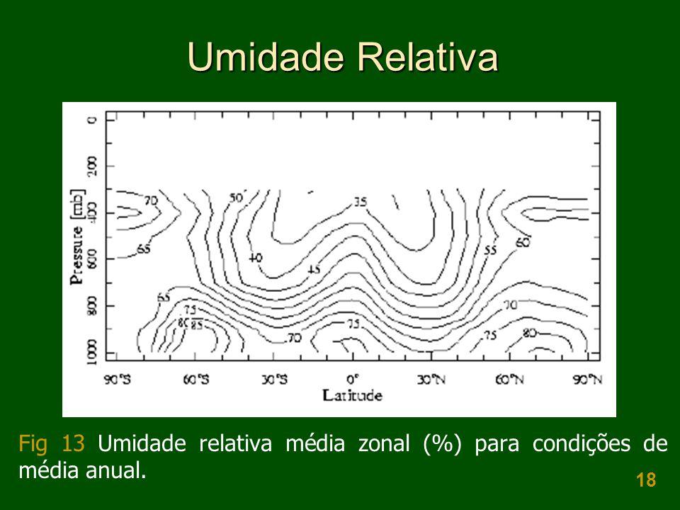 18 Umidade Relativa Fig 13 Umidade relativa média zonal (%) para condições de média anual.