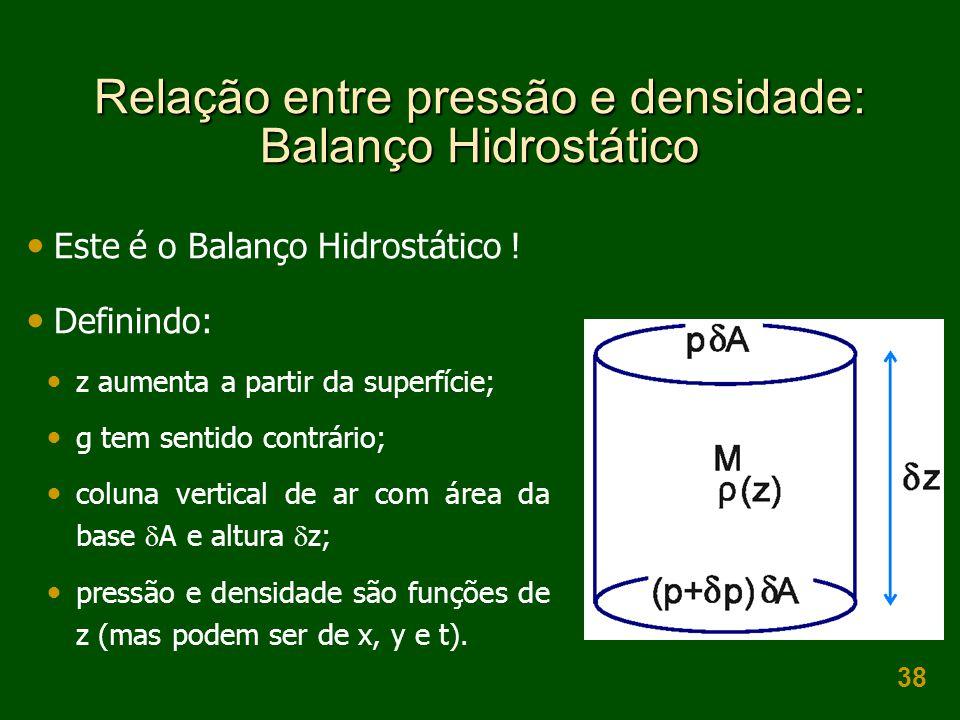38 Relação entre pressão e densidade: Balanço Hidrostático  Este é o Balanço Hidrostático !  Definindo:  z aumenta a partir da superfície;  g tem